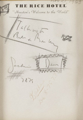 Several pieces of paper with doodles and notes written by President Kennedy at the Rice Hotel in Houston the night before his assassination in Dallas will also be included in the auction.