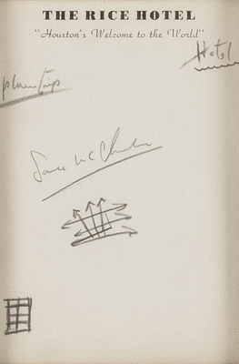 The notes written by President Kennedy on Rice Hotel stationary were collected by the president's secretary, Evelyn Lincoln, who marked them