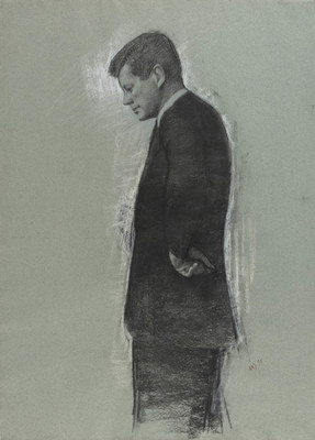 One of five studies made by New York artist Aaron Abraham Shikler for a posthumous painting of President Kennedy.