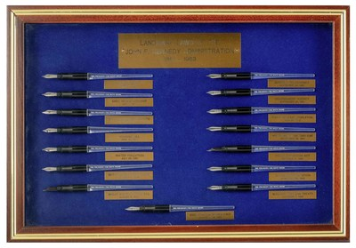A collection of pens designed to President Kennedy's specifications and used to sign the Racial Discrimination Act of 1962 and the Nuclear Test Ban Treaty in October 1963.