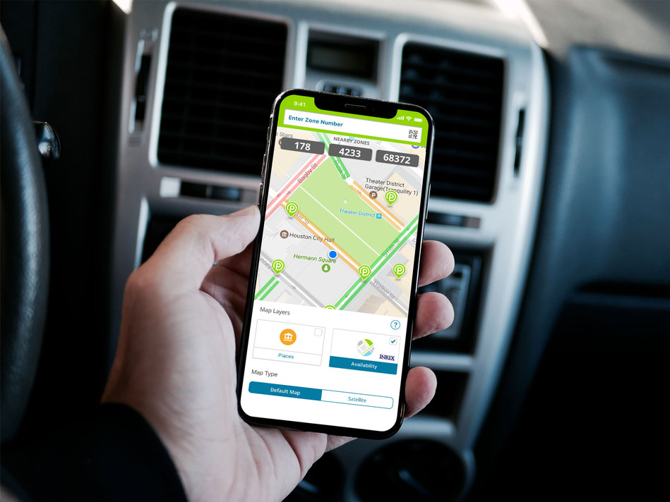 The Parkmobile app shows you where the open parking spots are near you.