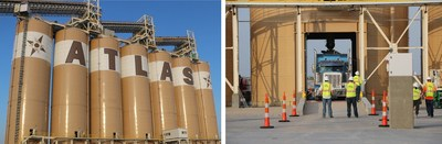 Fig. 1 – Atlas Sand's best-in class load-out includes seven 5,000-ton capacity silos (35,000 tons of total dry storage); Fig.2 – Atlas employees load the first truck through the Kermit facility.