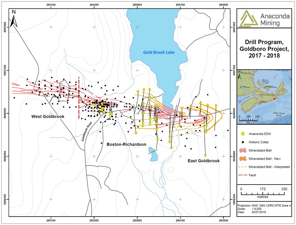Exhibit A. A map showing the Goldboro Deposit, associated drill holes completed by the Company to date and the expansion of the deposit to the east by 100 metres. (CNW Group/Anaconda Mining Inc.)