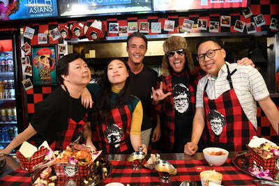 Crazy Rich Asians stars Ken Jeong, Awkwafina, and Nico Santos joins Smoke's Poutinerie's Ryan Smolkin to build the World's Richest Poutine. (CNW Group/Smoke's Poutinerie)