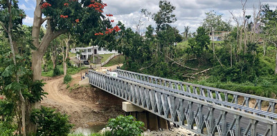 A beautiful completed Liberty Bridge in Puerto Rico. U.S. Bridge was honored to help after the devastation from Hurricane Maria.