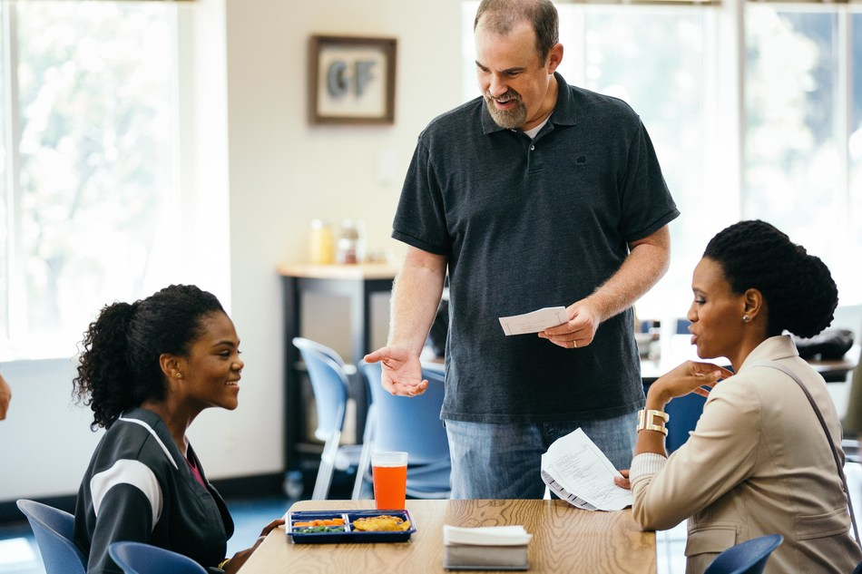 Aryn Wright-Thompson, Alex Kendrick and Priscilla Shirer rehearse a scene from the August 2019 film OVERCOMER. Photo credit: Sara Burns, courtesy of AFFIRM Films and Provident Films © 2018 CTMG. All Rights Reserved. (PRNewsfoto/AFFIRM Films)