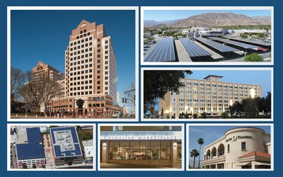 CleanFund's first-ever commercial PACE (C-PACE) public securitization includes energy and other improvements to properties across the US. Clockwise from upper left, the 17-story Statehouse Square office building in Harford, CT; The River shopping center in the Coachella Valley; the 510,000 sq. ft Butler Bros. building in Dallas, TX; a 80,000 sq. ft office building in Glendale, CA; the 45,000 sq. ft mixed-use building 644 Broadway, San Francisco, and historic Camelot Theatres in Palm Springs, CA.