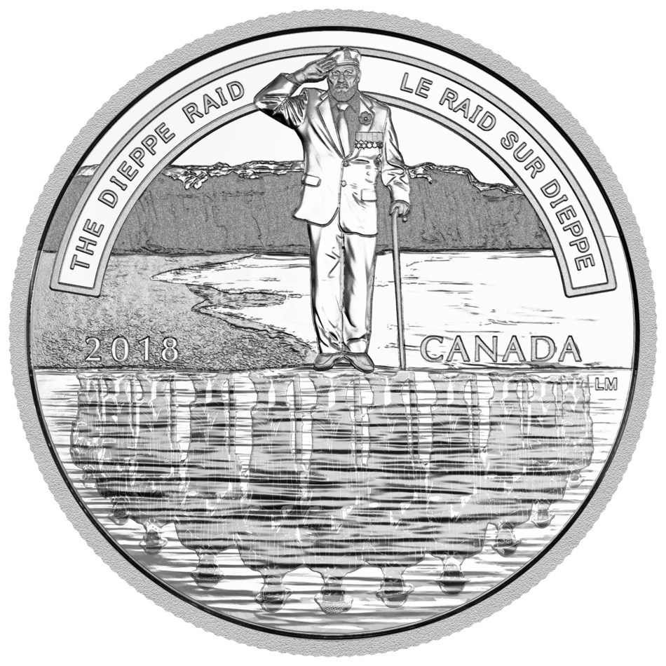 The 2018 $20 Fine Silver Coin – A Nation's Mettle: The Dieppe Raid (CNW Group/Royal Canadian Mint)