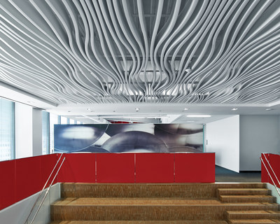 Project Name: Avery Dennison.  Project Location: Glendale, CA.  Featured Products: High Profile Series™ - Horizontally Curved Baffles, High Profile Series™ Straight Baffle Ceiling.  (Architect: HOK, Culver City, CA).