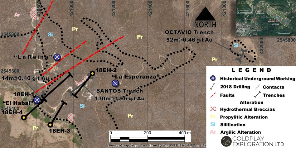 Figure 1: Drill Hole Location Map (CNW Group/Goldplay Exploration Ltd)