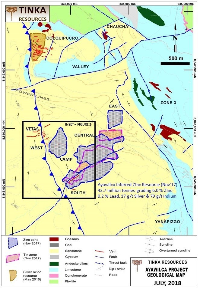 Figure 1.  Geological Map of Ayawilca with current footprint of mineral resources (CNW Group/Tinka Resources Limited)