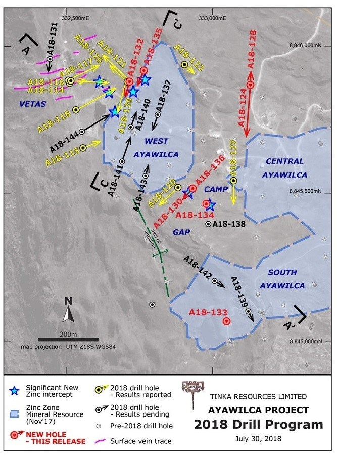 Figure 2.  West & South Ayawilca drill hole map highlighting 2018 holes & current zinc resources (CNW Group/Tinka Resources Limited)