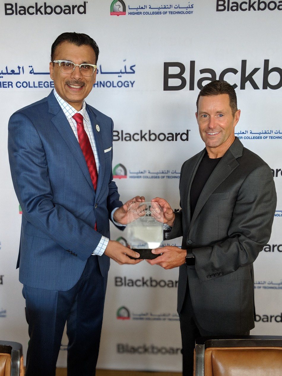 Dr. Abdullatif Al Shamsi, Vice Chancellor of HCT and Bill Ballhaus, Chairman, CEO and President of Blackboard suging the agreement at Blackboard's annual Bb World event in Orlando, USA (PRNewsfoto/HCT and Blackboard)