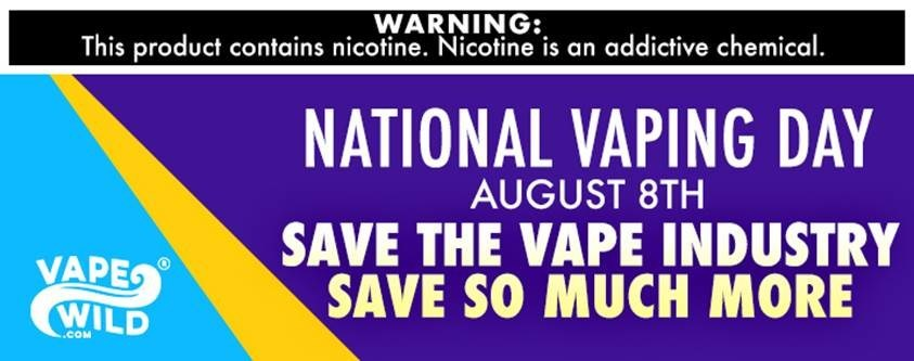 VapeWild is participating in National Vaping Day on August 8 to bring awareness to and advocate for the vaping industry. Learn more at https://www.vapewild.com/blog/national-vaping-day-august-8th/
