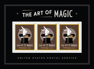 The Art of Magic souvenir sheet features a magical effect of a rabbit popping out of a top hat. This is the first time lenticular printing has been used on a U.S. postage stamp.