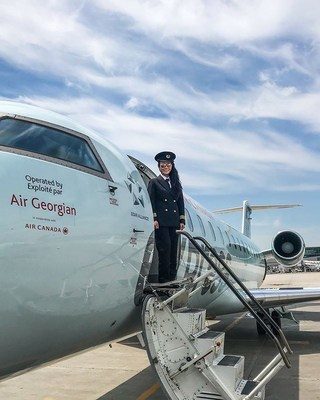 Air Georgian CRJ First Officer Eileen Chan (pictured), helps to represent Air Georgian's diverse work environment. Georgian is breaking down gender barriers in aviation, currently employing over twice the national and international average of female pilots. They are challenging themselves and the greater Canadian aviation industry to reach gender parity by 2028. (CNW Group/Air Georgian Limited)