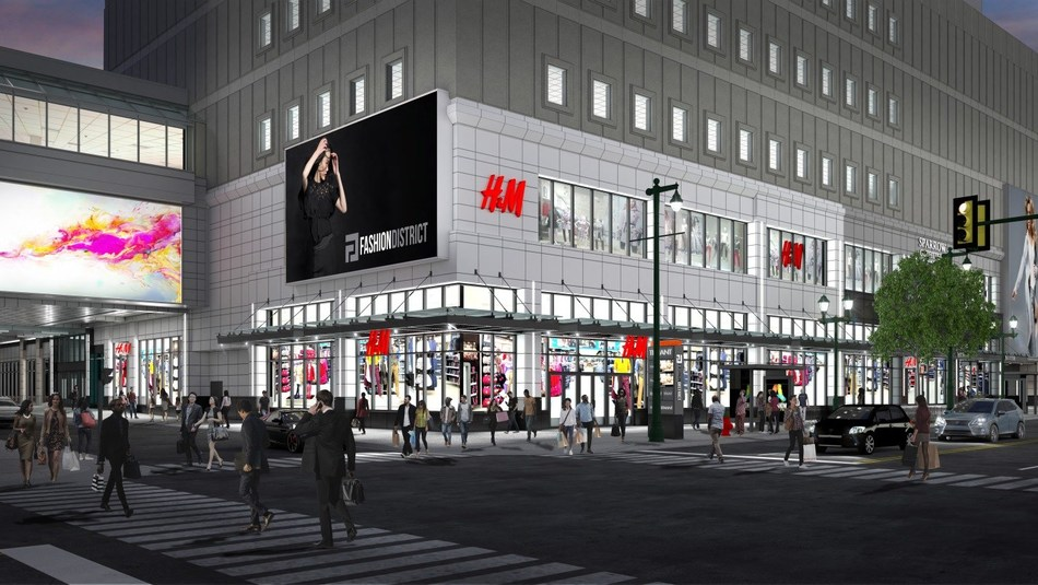 Architect's rendering of H&M at Fashion District