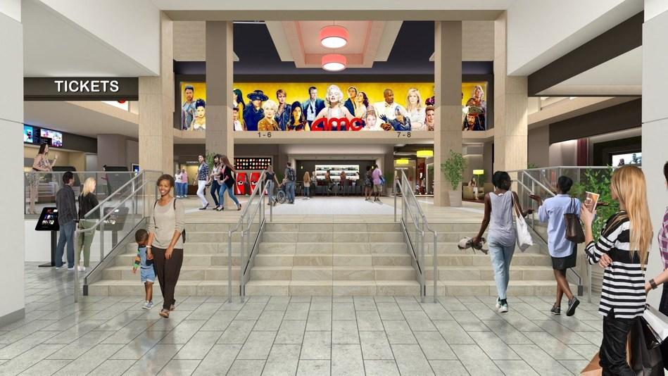 Architect's rendering of AMC at Fashion District Philadelphia.