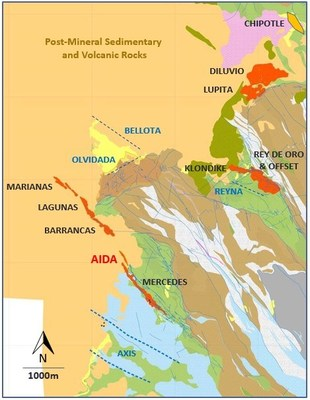 Figure 2 - Mercedes Regional Geology and target areas (CNW Group/Premier Gold Mines Limited)