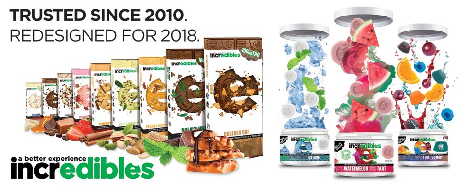 Award-Winning Infused Product Maker incredibles Rebrands Packaging as Manufacturer Rapidly Expands. Leading cannabis brand incredibles continues to set industry standards as it debuts a sophisticated redesign for its award-winning line of infused chocolate bars, gummies, mints and microdosed tarts. The maker of incredibles, incredible Wellness® and incredible Extracts® is one of the country's most diverse, trusted and top awarded cannabis products.