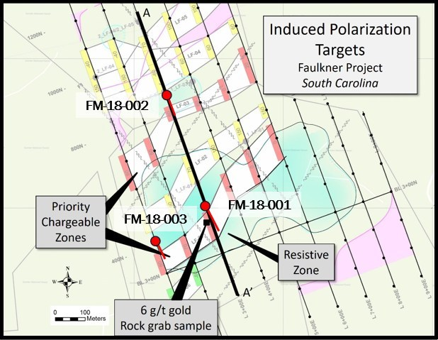 Figure 2. Faulkner Drillholes shown with chargeability trends from 2018 Induced Polarization inversion model (CNW Group/Orford Mining Corporation)