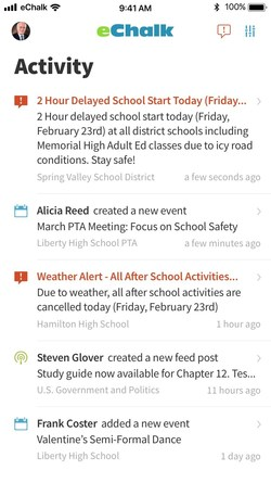 eChalk Notify pushes emergency alerts, school news, and class and group announcements to everyone's mobile devices.
