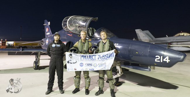 PoSSUM Scientist-Astronaut Candidate Capt. Theon Te Koeti (pilot, center), PoSSUM Executive Director Dr. Jason Reimuller (mission specialist, right), and PoSSUM Education Director Adrien Mauduit (canera specialist, left) conducted the high-altitude research using a CT-155 'Hawk' aircraft, thanks to CAE, as part of a recent collaboration between Project PoSSUM and the Royal Canadian Air Force 15 Wing at Moose Jaw, Saskatchewan. (projectpossum.org)