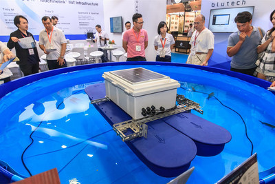 A simulated fish pond was set onsite of exhibition to reveal the working process and data collection from Blutech's smart products.