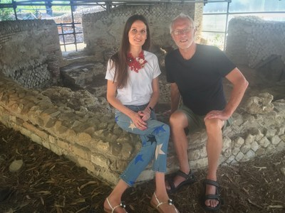 Christine Rose and Mikkel Aaland at the ruins of a Roman thermae outside of Rome.