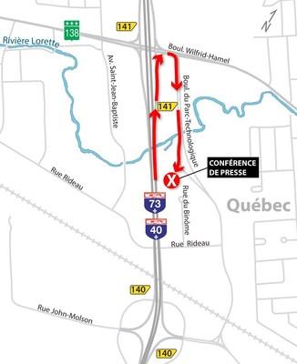 Plan de localisation : élargissement et réfection de l'autoroute Henri-IV (Groupe CNW/Cabinet de la ministre déléguée aux transports)