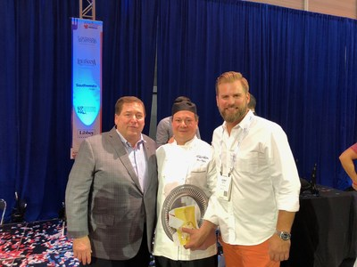 Lt. Governor Billy Nungesser, Chef Marc Orfaly and Host Cory Bahr at the Great American Seafood Cook-Off in New Orleans.