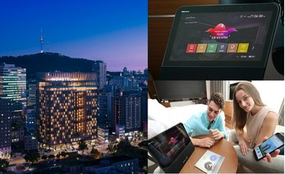 KT Corp.'s first AI-based hotel, Novotel Ambassador Seoul Dongdaemun Hotels & Residences, with 523 rooms and a rooftop swimming pool opened on July 3 near Dongdaemun, in Seoul, South Korea.