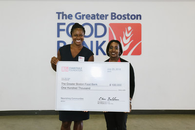 Yianna Zicherman, general manager, BJ's Wholesale Club in Auburn, Mass. (right) presents a $100,000 donation from the BJ's Charitable Foundation to Alisha Collins, Director of Corporate and Community Engagement, The Greater Boston Food Bank (left) to support its Hunger-Free Summer Programs.
