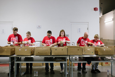 BJ's Wholesale Club team members volunteered at The Greater Boston Food Bank to sort and package healthy food to distribute to school-based pantries in Boston, Mass.