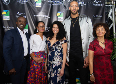 From left to right: Ary Chalus, President of the Region of Guadeloupe, guest, model/Actress Katia Inamo, Utah Jazz Rudy Gobert, Film maker Mariette Monpierre.