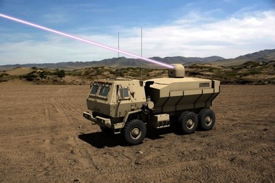 The high energy laser counters unmanned aerial systems, rockets, artillery, and mortars. Artist's rendering: Lockheed Martin
