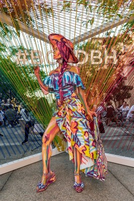 A model posing in front of a #BOLDBH social art installation in Beverly Hills, painted by artist Alexa Meade; she will return to the city August 18 at The Paley Center for Media from 5 – 8 p.m. Photo Credit: L Lawson