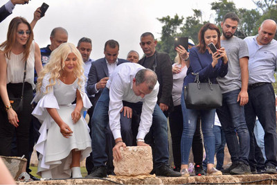 Michigan Accident Attorney Joumana Kayrouz (2nd from left) joins Gebran Bassil, Lebanon's Minister of Foreign Affairs and Emigrants, to place the first stone in the groundbreaking for a new Youth Hub Center to be opened in Batroun, Lebanon in the Spring of 2019