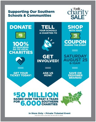 The Belk Back-to-School Charity Sale will take place on Saturday, August 25 from 6 a.m. to 10 a.m. offering customers exclusive discounts on top designer brands and the opportunity to support local schools and charities.
