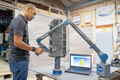 Com o FARO® 8-Axis Quantum FaroArm®, sondagem e digitalização de peças e componentes é feita mais fácil e mais rápido.