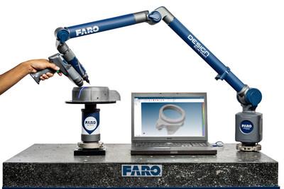 A solução FARO 8-Axis Design ScanArm oferece até 40% mais velocidade de captura 3D usando o único design de 8 eixos da indústria.