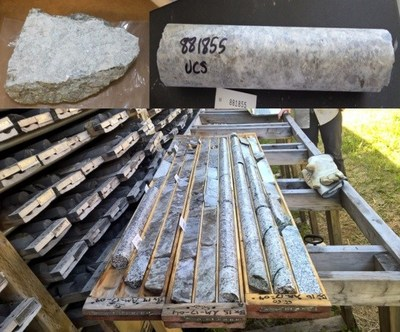 Figure 1 – rock and drill core samples from Georgia Lake lithium property (CNW Group/Rock Tech Lithium Inc.)