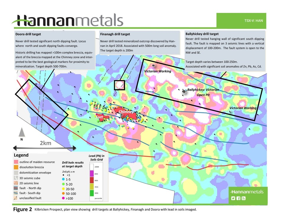 Figure 2 Kilbricken Prospect, plan view showing drill targets at Ballyhickey, Finanagh and Doora with lead in soils imaged. (CNW Group/Hannan Metals Ltd.)