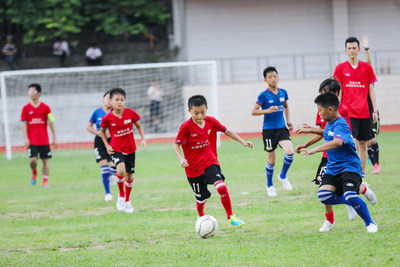 Children playing a fierce match at the training camp
