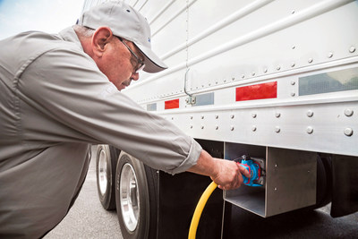 Instead of idling engines, cargo trucks at Golden State Foods in Garner, N.C., now use electricity to keep food cold and lower emissions to the environment. The effort will save the company 80,000 gallons of fuel a year. Duke Energy has been involved with three such projects in North Carolina over the past two years.