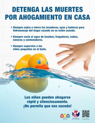 Ahogamiento en el hogar póster - español