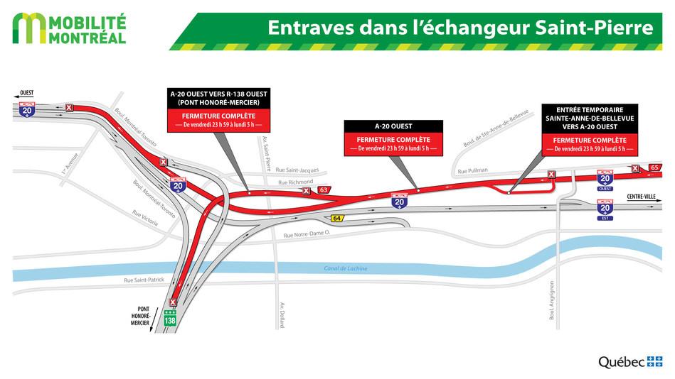 Entraves dans l'échangeur Saint-Pierre (Groupe CNW/Ministère des Transports, de la Mobilité durable et de l'Électrification des transports)