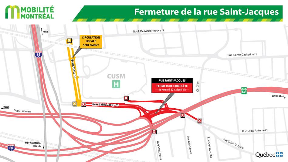 Fermeture de la rue Saint-Jacques (Groupe CNW/Ministère des Transports, de la Mobilité durable et de l'Électrification des transports)