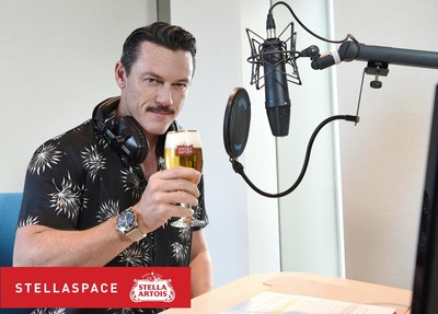 Actor Luke Evans records STELLASPACE, a sensory guide to mastering the art of beer sipping, in London. Fans can listen to the guide by downloading INSCAPE on iTunes.