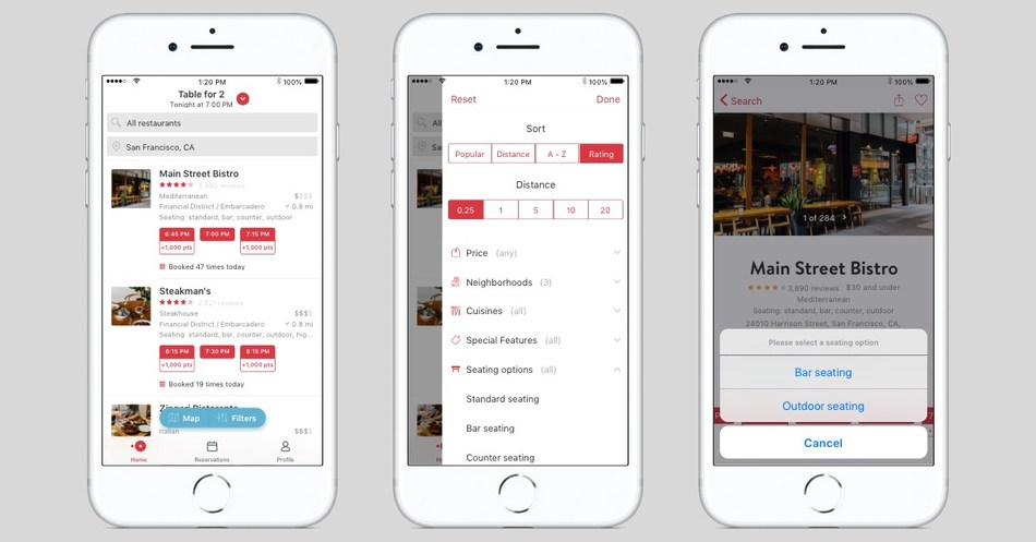 OpenTable Lets Diners Book Their Favorite Seat in the House